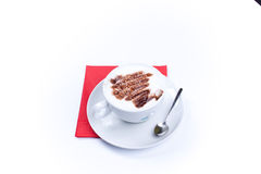 Cup of coffee cappuccino with a froth pattern isolated on white Stock Photos