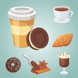 Cup of coffee, cappuccino, latte and chocolate food. Sweet deserts time. Stock Photos