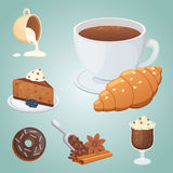 Cup of coffee, cappuccino, latte and chocolate food. Sweet deserts time. Royalty Free Stock Photos