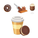 Cup of coffee, cappuccino, latte and chocolate food. Sweet deserts time. Stock Photo
