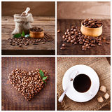 Cup of coffee, cappuccino, latte, and roasted beans. Coffee concept. Coffee Collage Stock Images