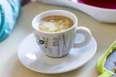 Cup of coffee cappucino stock photos