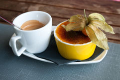 Cup of  coffee and caramelised  cream Stock Photography