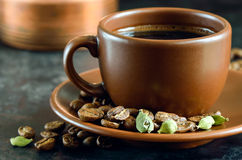 Cup of coffee with cardamom Royalty Free Stock Images
