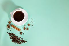 Cup of coffee, Cardamom, grains coffee and cinnamon on a turquoise background Stock Image