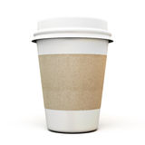 Cup of coffee with a cardboard label Royalty Free Stock Photo