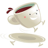 Cup of coffee cartoon character. Sitting on its running saucer Stock Image