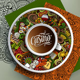 Cup of coffee Casino doodles on a saucer, paper and background. Vector illustration with a Cup of coffee and hand drawn Casino doodles on a saucer, on paper and Stock Photos
