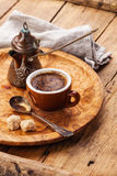 Cup of coffee and Cezve Stock Photo