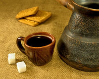 Cup of coffee, cezve and cookies Royalty Free Stock Photography