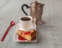 Cup of coffee and cheese baked pudding with jam Royalty Free Stock Photography