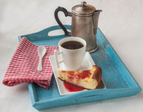 Cup of coffee and cheese baked pudding with jam Stock Images