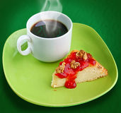 A cup of coffee with cheese cake Stock Photography