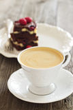 Cup of coffee with Cheesecake brownies Royalty Free Stock Image