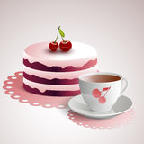 Cup of coffee with a cherry cake Stock Photos
