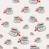Cup of coffee and cherry Hand drawn sketch on pink background. seamless pattern  Royalty Free Stock Images
