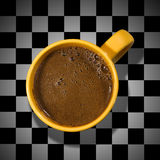 Cup of coffee on a chessboard. Cup of coffee, black and white, chessboard backgroud Stock Photos