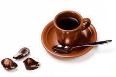 Cup of coffee and chocolate. Isolated on a white background Stock Photography
