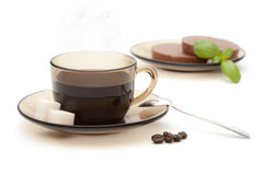 Cup of coffee and chocolate Royalty Free Stock Images