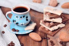 Cup of coffee with chocolate. Chocolate bars with cup of coffee, selective focus Stock Images