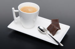 A cup of coffee with chocolate Stock Images