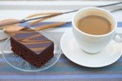 A cup of coffee and Chocolate cake Royalty Free Stock Image