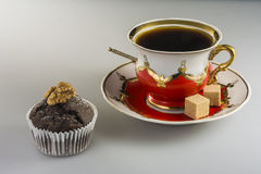 Cup of coffee and chocolate cake. On the table Stock Photography