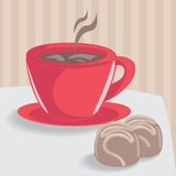 Cup of coffee with chocolate cakes Stock Image