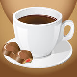 Cup of coffee with chocolate candies Stock Image