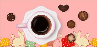 Cup of coffee and chocolate candies, easter background stock illustration