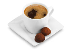 Cup of coffee  and chocolate candy Royalty Free Stock Photography