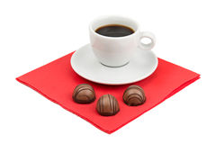Cup of coffee and chocolate candy Royalty Free Stock Images