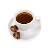 Cup of coffee and chocolate candy Stock Photography