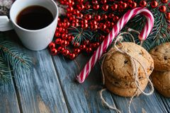 Coffee cup cookie holiday decor christmas leisure Royalty Free Stock Images