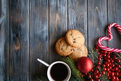 Coffee cup cookie holiday decor christmas leisure Royalty Free Stock Photos