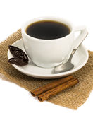 Cup of coffee, chocolate and cinnamon Royalty Free Stock Image