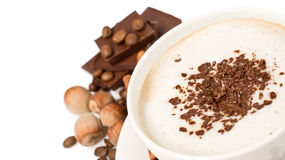 Cup of coffee with chocolate close up Stock Photography