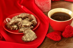 Cup of coffee and chocolate cookies Stock Images