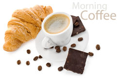 Cup coffee with chocolate and croissant Royalty Free Stock Images