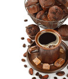Cup of coffee and chocolate muffins Royalty Free Stock Photography