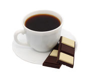 Cup of coffee chocolate. White background. Royalty Free Stock Photos