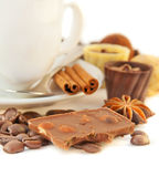 Cup of coffee with chocolates Royalty Free Stock Images