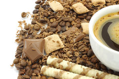 Cup of coffee with chocolates Royalty Free Stock Photo