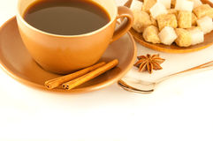Cup of coffee with chocolates Royalty Free Stock Photography