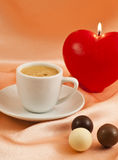 Cup of coffee with chocolates Royalty Free Stock Photos
