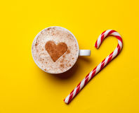 Cup of coffee and christmas candy Royalty Free Stock Photo