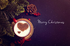 Cup of coffee on Christmas card Royalty Free Stock Photography