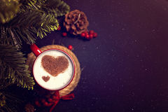 Cup of coffee on Christmas card Stock Images