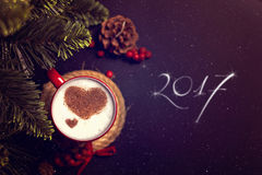 Cup of coffee on Christmas card Royalty Free Stock Images