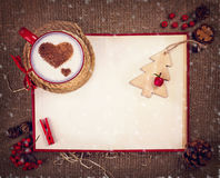 Cup of coffee on Christmas card Royalty Free Stock Photo